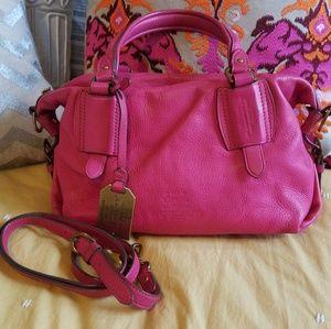 Lauren Ralph Lauren Magenta Leather Handbag